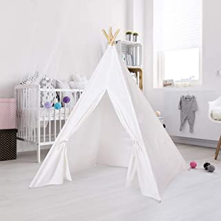 DAYON Kids Foldable Teepee Tent With Mat Playhouse Indian Style - 4 Wooden Poles Canvas With Bottom Mat , Indoor & Outdoor...