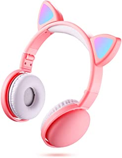LED Cat Ear Headphones RGB Color BT 5.0 Headsets Noise Cancelling Foldable Adults Kids Earphone with Mic