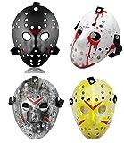 4 Pieces Costume Jason Mask Halloween Costume Cosplay Hockey Mask