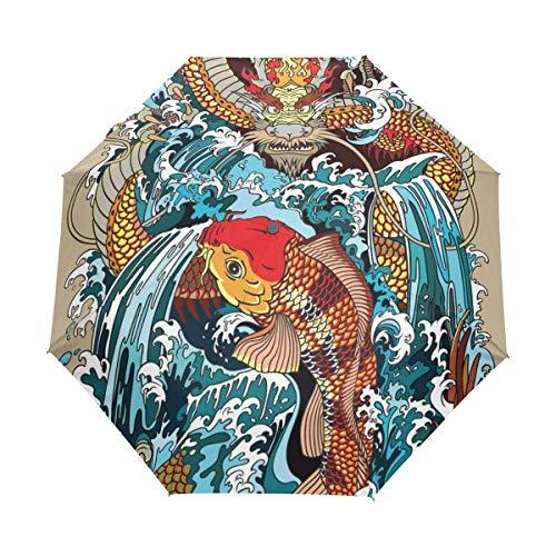 Golden Dragon Koi Carp Fish Waterfall Auto Abrir Cerrar Paraguas Plegable de...