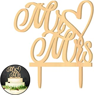 Huture Personalized Elegant Stylish Mr&Mrs Letter Heart Wooden Cake Topper Leave It Plain Paint It Or Add Sparkles Truly Unique Look For Anniversary Customized Rustic Wedding Party Bride Groom Decor