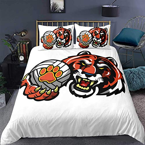 Nursery Bedding Set,Boys Kids Child Tiger Cartoon Animal Ferocious Fangs Red Soft White Print,Decor Comforter Cover Double Size 3 Pcs (1Duvet Cover +2 Pillowcases),Zipper