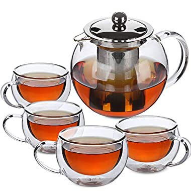BTäT- Tea Pot, Tea Set, Set of 4, Tea Cups, Glass Teapot, Glass Tea Cup, Tea Kettles Stovetop, Tea Set for Adults, Glass Tea Kettle, Tea Pots, Tea Kettle with Infuser, Double Wall Glass, Glass Tea Mug