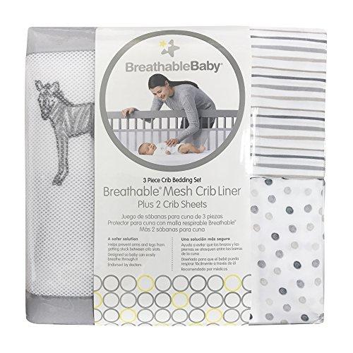 BreathableBaby 3pc Classic Crib Bedding Set – Watercolor Safari