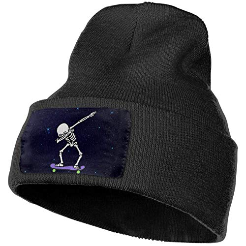 Voxpkrs Boys and Girls Beanie Hat Dabbing Skeleton Skateboard Casual Cuffed Plain Skull Knit Hat Cap Sports & Outdoors Watch Cap Black Design 3513