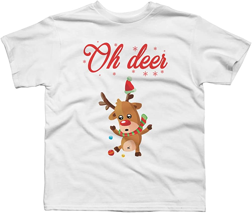 Design By Humans Oh Deer - Christmas Sweater Boys Graphic Tee