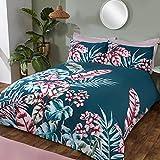 Sleepdown Juego edredón y Fundas de Almohada para Cama de Matrimonio (200 x 200 cm), diseño de Hojas Tropicales, Polialgodón, Azul Verdoso, Doublé
