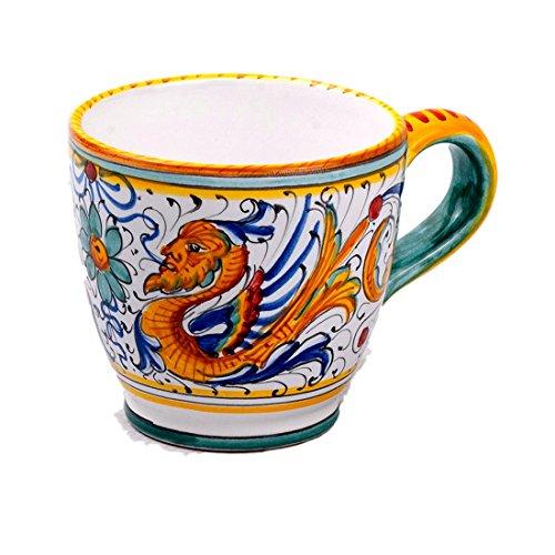 Michelangelo Peint à la Main, Poterie - Mug Eau/Vin ¼ décoration Raffaellesco en Céramique 13x9 H9.5 cm (Jaune)