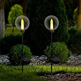 2 Pack Solar Landscape Path Lights Modern Decorative Stake Lights,Outdoor Waterproof Candle Lamp with Flickering Flame for Garden,Patio,Lawn,Yard,Pathway
