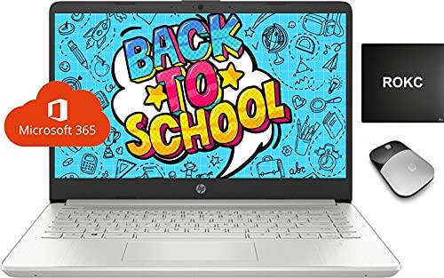2021 HP 14 Thin Laptop, Intel 4-Core N5030 8GB RAM 128GB SSD Webcam 1-Year Office 365 Wi-Fi, FHD Display, Windows 10 S Free Upgrade to Windows 11, Microphone, Zoom Kids Student Remote Ready, ROKC Kit