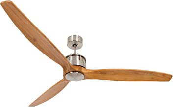 Lucci Air 210506010 Akmani 3 Indoor DC Motor Ceiling Fan with Remote Control, 60 Inch, Brushed Chrome with Solid Wood Teak Colored Blades