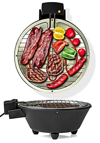 1250 Watt Elektrogrill, elektrischer BBQ Tischgrill mit Thermostat, Balkongrill inkl. Wasserbad, XXL-Grillfläche Ø 30cm