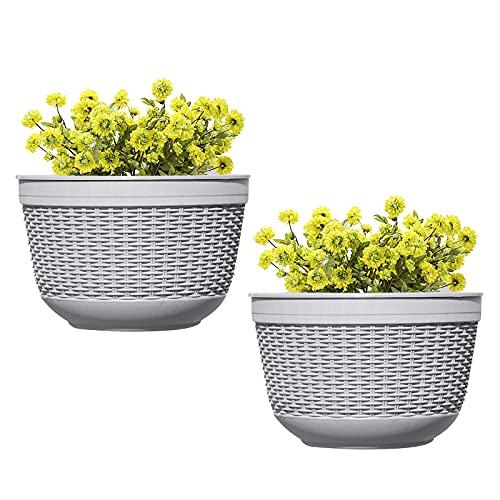 2 Piezas Macetas de plástico para Pared, Cesta para macetas Colgantes macetero de Flores montado en...