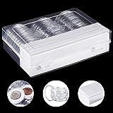 DECARETA 30 Pcs Cápsulas de Monedas Cajas de Plástico Redondas de 46 mm Estuches para Monedas Caja Organizadora para Monedas 46 mm /40 mm /32 mm /30 mm /27 mm / 25 mm /20.5 mm /17 mm