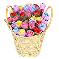 COSMOS_K 気持ちが伝わる花束♪ タオルフラワー バラ プチギフト フラワーギフト (5色ミックス, 15本)