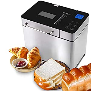 Nictemaw Panificadora Completamente Automática,19 Programas,1KG,Máquina Programable para Hacer Pan,15H Temporizador de Citas,para Panes Artesanales, sin Gluten, Bizcochos,Masas y Mermeladas