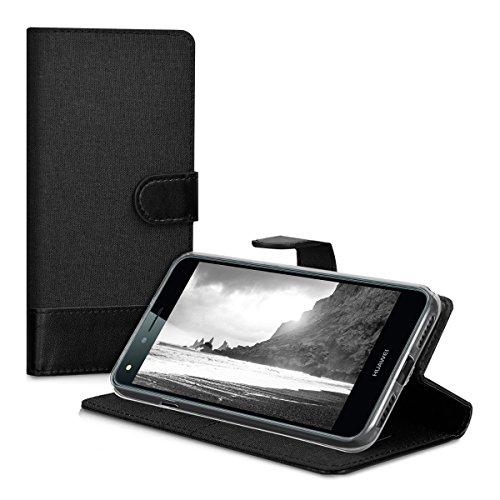 kwmobile Huawei Y6 II Compact (2016) Hülle - Kunstleder Wallet Case für Huawei Y6 II Compact (2016) mit Kartenfächern und Stand - Anthrazit Schwarz - 5