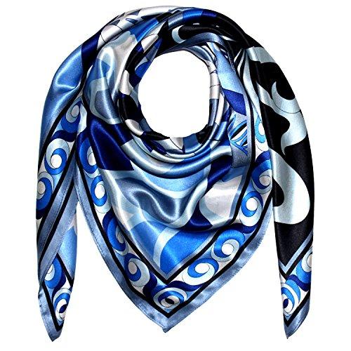 Lorenzo Cana Luxus Seidentuch aufwändig bedrucktes Tuch 100% Seide 90 cm x 90 cm harmonische Blau Farben Damentuch Schaltuch 89156