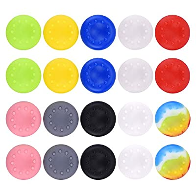 20 Pieces Silicone Thumb Grips Caps Thumb Stick Protect Cover Replacement Parts Compatible with Xbox One, Xbox 360, PS2, PS3, PS4 Controllers, Multi-color