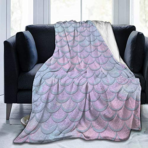 QUEMIN Türkisblau Flieder Glitter Meerjungfrau Weiche Ultra-Weiche Fleece Decke, Mikrofaser Ganzjahresbett Couch Couch...