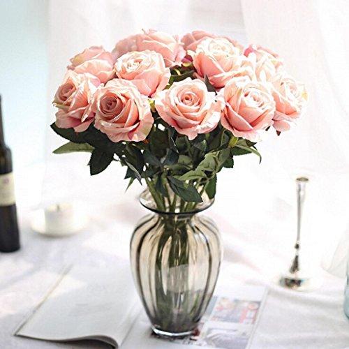 Longra Wohnaccessoires & Deko Kunstblumen 10 Kopf Latex berühren Rose Blumen für Hochzeit Party Home Design Bouquet Party Decor Fake Blume (G)