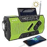 Solar Radio, Kurbelradio AM/FM Wiederaufladbare Dynamo Radio Wasserdicht LED Dynamo Lampe Powerbank...