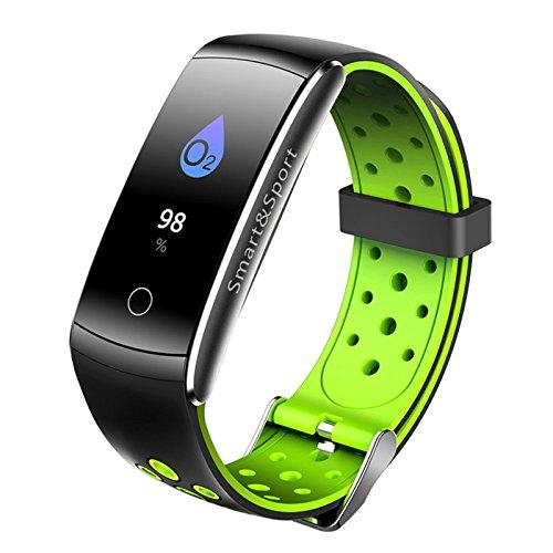elegantstunning 2,4cm IPS LCD Screen Smart Watch Pressione cardiofrequenzimetro Sport Fitness Tracker Verde