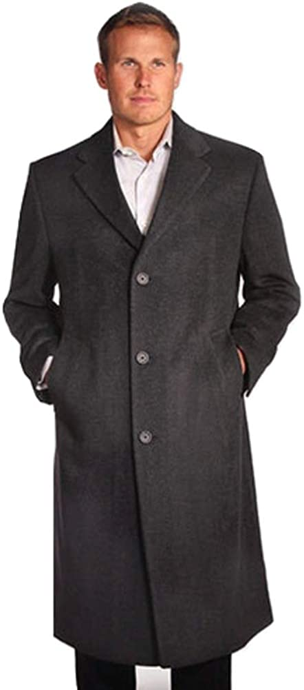 StoutMensShop Big and Tall Luxury Wool and Cashmere Blend Topcoat to Size 60