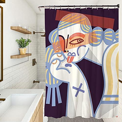 Cortina de ducha, impermeable resistente al moho cortina de ducha, protección del medio ambiente cortina engrosada (180X180CM)Impression girl