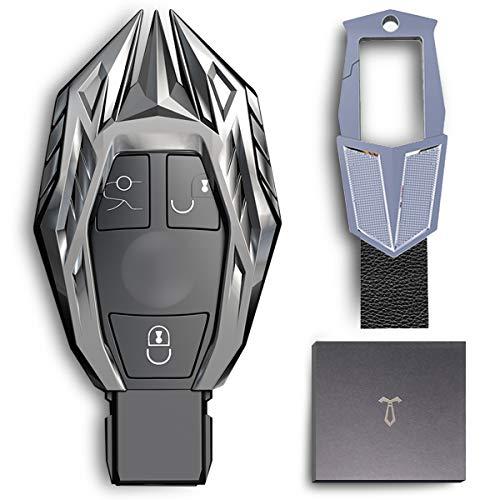 LORESJOY Autoschlüssel Hülle für Benz, Autoschlüssel Fall, Schutzhülle aus Zinklegierung mit Schlüsselbund, Kompatibel mit Keyless Mercedes Benz A,B,C,E Klasse, GLA,GLC,GLS,AMG,W204,W212