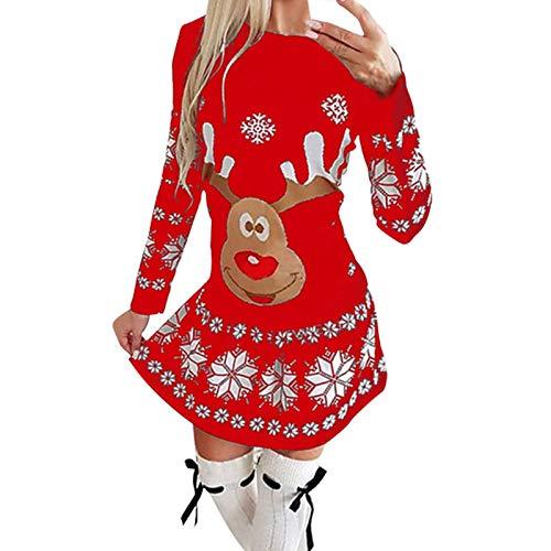 Zilosconcy Vestido Mujeres Navidad Mini De Manga Larga con Estampado NavideñO Mono Vestir Faldas Camisas Sudadera Abrigos