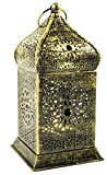 Guru-Shop Orientalische Messing Laterne in Marrokanischem Design, Windlicht, Gold, 17x8,5x8,5 cm,...
