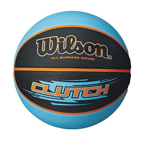 Wilson Outdoor-Basketball, Rauer Untergrund, Asphalt, Granulat, Kunststoffboden, Größe 7, ab 12 Jahre, Clutch, Mehrfarbig (Schwarz/ Blau)