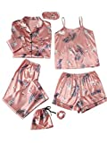 SheIn Women's Plus 7pcs Printed Cami and Shorts Satin Pajama Set with Shirt and Eye Mask Pink Plants XX-Large Plus