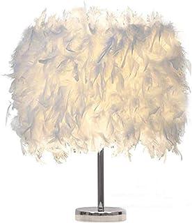 Lámpara de mesa blanca de la pluma lámpara de mesita de noche moderna lámpara de mesa de la decoración del comedor del d...