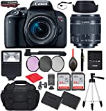 Canon EOS Rebel T7i DSLR Camera with Canon EF-S 18-55mm f/4-5.6 is STM Lens Bundle, Starter Kit with Accessories (Gadget Bag, Extra Battery, Digital Slave Flash, 128Gb Memory, 50' Tripod and More)