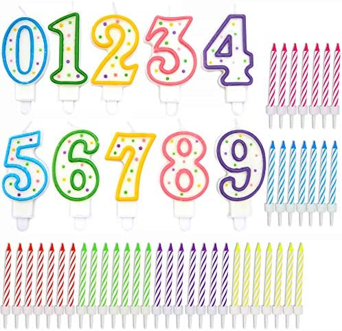 Rainbow Striped 0 9 Number Birthday Cake Candles Set in Holders 154 Pack product image