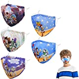 Kids Reusable Face Mask with Adjustable Ear Loops, Blue White Funny Designer Breathable Cute Washable Fabric Childrens Toddler Youth mascaras para niños, Madks Facemask for Girl Boy Children Gift