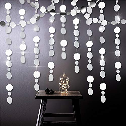39ft Mirror Silver Circle Dots Garlands for Wedding Party Decorations Hanging Circle Streamer for Bridal Shower/Baby Shower/Engagement/Bachelor Party Ornament for Home Decor (Silver)