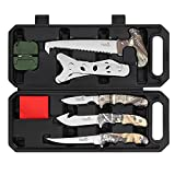 Field Dressing Kit Hunting Knife Set, 7-Piece Portable Hunting Accessories for Men, Hunting Stuff, Hunters, for Hunting, Survival, Fishing, Camping
