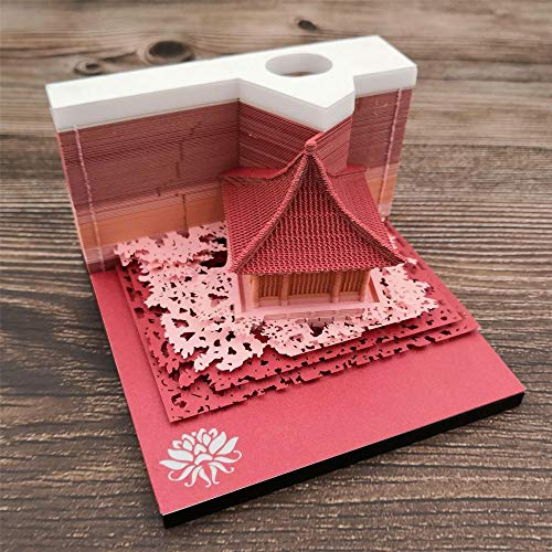 YESMAE Creative 3D Post It Note Small 80x80mm Paper Sculpture Sticky Notes Post-it Notes For Creative Gift Birthday Party Christmas Valentine's Day, Red-Landscapehouse(100 * 100mm)