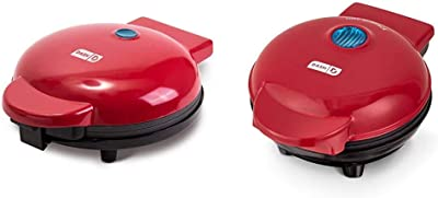 """Dash DMG8100RD 8"""" Express Electric Round Griddle + Included Recipe Book, Red & DMS001RD Mini Maker Electric Round Griddle + Included Recipe Book, Red"""