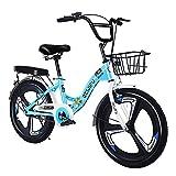 CHHD Bicicleta para Adultos 16/18/20/22 Pulgadas Bicicletas Plegables para Hombres y Mujeres, Marco de Acero al Carbono