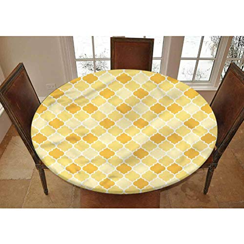 LCGGDB Quatrefoil Elastic Edged Polyester Fitted Tablecolth -Trellis in Yellow- Large Round Fitted Table Cover - Fits Tables up to 45-56' Diameter,The Ultimate Protection for Your Table