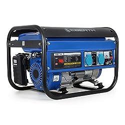 EBERTH 3000 Watt Benzin Stromerzeuger (6,5 PS Benzinmotor, 4-Takt, luftgekühlt, 2x 230V, 1x 12V, Seilzugstart, Automatischer Voltregler AVR, Ölmangelsicherung, Voltmeter)
