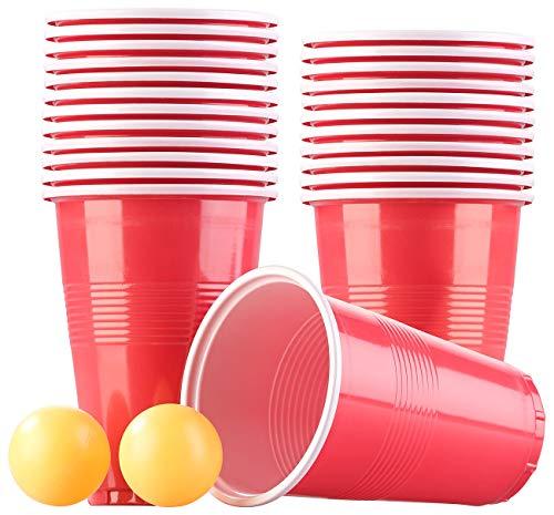 Infactory Pong de la Cerveza: Trinkspiel-Set Bier Pong mit 24 Bechern (je 450 ml) und 2 Bällen (Taza de Fiesta)