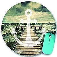 KAPANOU ラウンドマウスパッド カスタムマウスパッド、長い木製の桟橋で海の波のアンカープリント曇り空3D効果プリント、PC ノートパソコン オフィス用 円形 デスクマット 、ズされたゲーミングマウスパッド 滑り止め 耐久性が 200mmx200mm