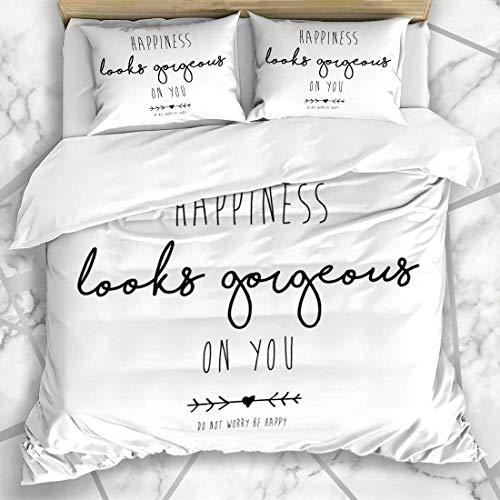 888 Juego de ropa de cama con pincel lindo de la felicidad eslogan cita texto de la mano precioso dicho camiseta vida flecha microfibra ropa de cama funda de almohada