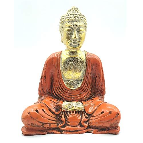 Estátua Buda Sentado Meditando Laranja (15cm)