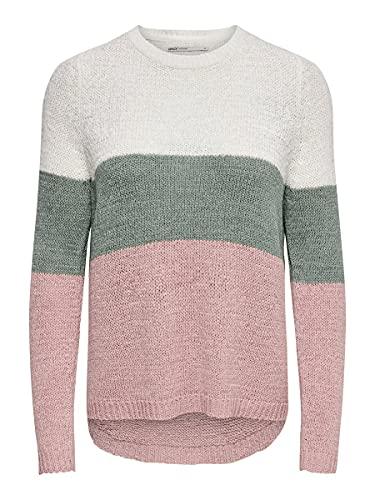 Only Onlgeena L/s Block Pullover Knt Noos Felpa, Multicolore (Cloud Dancer Stripes: W. Chinois Green/Rose), 44 (Taglia Produttore: Medium) Donna